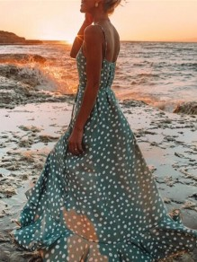Light Blue Polka Dot Sashes Single Breasted V-neck Bohemian Folwy Chic Maxi Dress