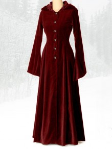 Wine Red Patchwork Single Breasted Hooded Vintage Maxi Dress