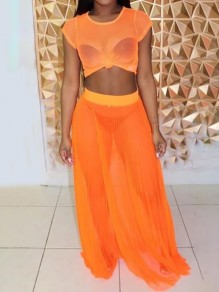 Neon Orange Grenadine Sheer Crop Two Piece Pleated Flowy Beach Swimwear Bikini Cover Up Maxi Dress