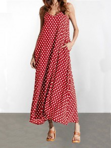 Red Polka Dot Pockets V-Ausschnitt Spaghettibügel Casual Women Maxi Dress