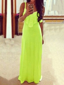 Neon Green Carmine Patchwork Lace Spaghetti Strap Casual Women Maxi Dress