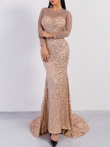 Rose Golden Patchwork Grenadine Sequin Pattern Round Neck Long Sleeve Mermaid Party Slim Formal Maxi Dress