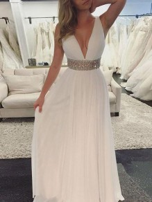 White Patchwork Sequin Pleated V-neck Party Maxi Dress