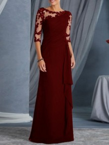 Burgundy Patchwork Lace Ruffle Sheer Elegant Prom Ball Gowns Maxi Dress