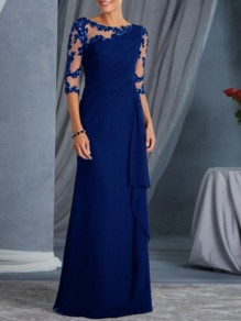 Blue Patchwork Lace Ruffle Sheer Elegant Prom Ball Gowns Maxi Dress