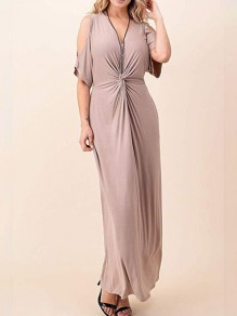 Apricot Cut Out V-neck Ruched Pockets Women Casual Maxi Dress