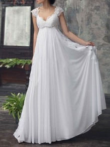 White Patchwork Lace Cut Out Chiffon V-neck Sleeveless Wedding Gowns Formal Maxi Dress