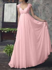 Pink Patchwork Lace Cut Out Chiffon V-neck Sleeveless Wedding Gowns Formal Maxi Dress