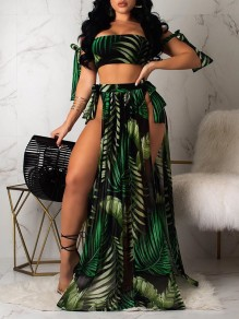 Green Boohoo Palm Leaves Print Tankinis Swimwear Sleeveless Lace-up Three Piece Double Slit Skirt Beach Maxi Dress
