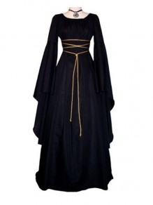 Black Lace Up Pleated Round Neck Victorian Retro Gothic Party Maxi Dress