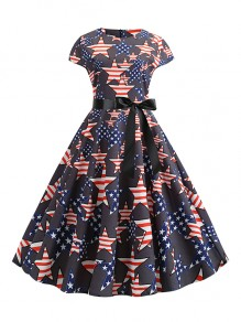 Black Zipper Belt Bow 4th July American Flag Print Independence Day Draped High Waisted Vintage Tutu Maxi Dress