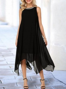 Black Patchwork Beading Draped Irregular Round Neck Sleeveless Maxi Dress