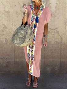 Pink Patchwork Tribal Floral Embroidered Print V-neck Short Sleeve Slit Bohemian Beach Maxi Dress
