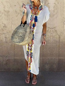White Patchwork Tribal Floral Embroidered Print V-neck Short Sleeve Slit Bohemian Beach Maxi Dress