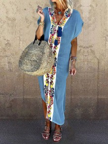 Blue Patchwork Tribal Floral Embroidered Print V-neck Short Sleeve Slit Bohemian Beach Maxi Dress