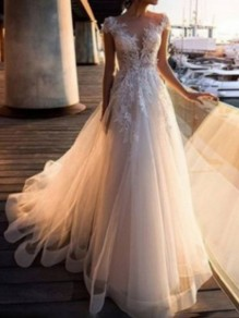 White Patchwork Lace Cut Out Fluffy Puffy Tulle Grenadine V-neck Cap Sleeve Wedding Gowns Maxi Dress