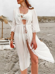 White Patchwork Lace Drawstring V-neck Beach Maxi Dress Cover-Up Bikini Smock