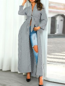 Black White Striped Bow V-neck Long Sleeve Casual Maxi Dress