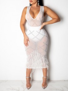 White Grenadine Sheer Patchwork Pearl Feather With Plaid Rhinestones V-neck Sleeveless Bodycon Maxi Dress