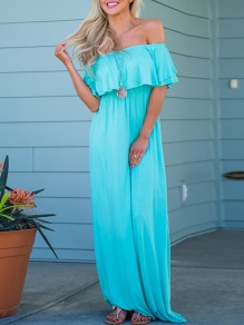 Light Blue Cascading Ruffle Off Shoulder Short Sleeve Flowy Church Casual Maxi Dress