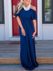 Dark Blue Cascading Ruffle Off Shoulder Short Sleeve Flowy Church Casual Maxi Dress