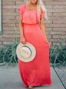 Red Cascading Ruffle Off Shoulder Short Sleeve Flowy Church Casual Maxi Dress