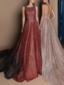Burgundy Sequin Shoulder-Strap Backless Pleated Big Swing Flowy Shimmer Glitter Sparkly Birthday Party Formal Wedding Maxi Dress