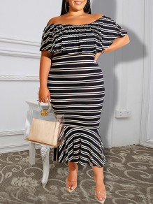 Black-White Striped Print Plus Size Ruffle Off Shoulder Bodycon Falbala Casual Maxi Dress