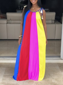 Blue Plus Size Tassel Shoulder-Strap Lace-up Rainbow Striped Round Neck Sleeveless Big Swing Bohemian Maxi Dress