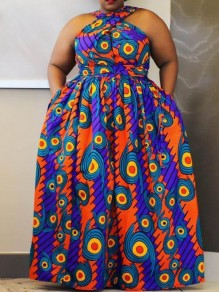 Maxi dress cinturino tribale in dashiki azteco con stampa tribale senza maniche stile big swing africa blu
