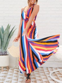 White Rainbow Striped Print Spaghetti Strap Belt Lace-up V-neck Big Swing Flowy Casual Beach Maxi Dress