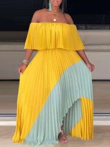 Neon Yellow Patchwork Irregular Pleated Off Shoulder Short Sleeve Slit Big Swing Maxi Dress