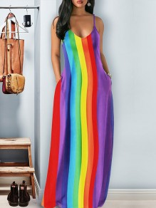 Multicolor Rainbow Striped Print Pockets Spaghetti Strap V-neck Fashion Casual Cute Beach Maxi Dress