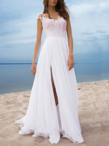 White Patchwork Lace V-neck Backless Slit Party Elegant Beach Wedding Prom Maxi Dress