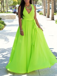 Neon Green Belt Lace-up V-neck Sleeveless Slit Flowy Bandage Bikini Cover Up Beach Maxi Dress