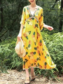 Yellow Pineapple Print Patchwork Pom Deep V-neck Bell Sleeve Bohemian Flowy Beach Maxi Dress
