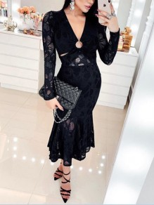Black Patchwork Lace Cut Out V-neck Flare Long Sleeve Bodycon Mermaid Work Formal Maxi Dress