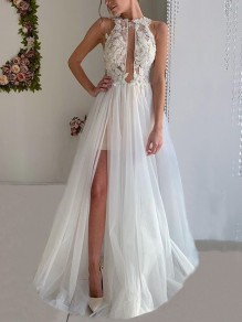White Patchwork Lace Cut Out Halter Neck Backless Sleeveless Slit Elegant Wedding Gowns Prom Maxi Dress