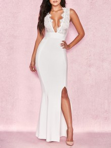 White Patchwork Lace Cut Out V-neck Backless Sleeveless Bodycon Slit Mermaid Party Hot Maxi Dress