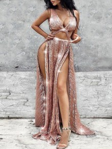 Golden Bright Wire Cut Out V-neck Sleeveless Thigh High Double Side Slits Glitter Sparkly Birthday Party Hot Maxi Dress