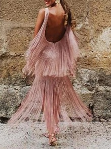 Pink Patchwork Tassel Square Neck Sleeveless Flowy Party Maxi Dress