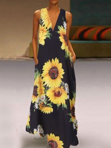 Black Irregular Sunflower Print Pockets V-neck Sleeveless Big Swing Flowy Maxi Dress