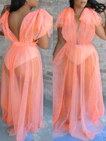 Orange Grenadine Backless V-neck Ruffle Sleeve Bikini Cover Up Sheer Beach Maxi Dress