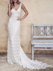 White Patchwork Lace Cut Out Tassel Backless Shoulder-Strap V-neck Sleeveless Mermaid Wedding Maxi Dress