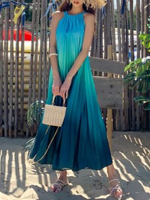 Blue Gradient Color Pleated Halter Neck Sleeveless Maxi Dress