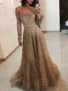 Golden Strass Glitzer Boot-Ausschnitt Off Shoulder Langarm Elegant Maxikleid Abendkleid Ballkleid