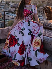 White Flowers Print Cut Out Pearl V-neck Short Sleeve Fashion Prom Maxi Dress