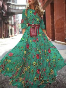 Green Floral Round Neck Elbow Sleeve Bohemian Beach Maxi Dress