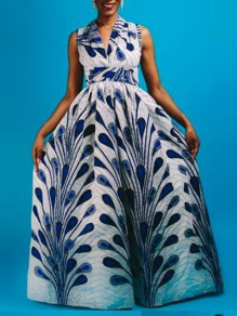 Blue Peacock Feather Print Lace-up Multi Way Big Swing African Maxi Dress