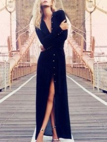 Navy Blue Single Breasted V-neck Long Sleeve Elegant Maxi Dress